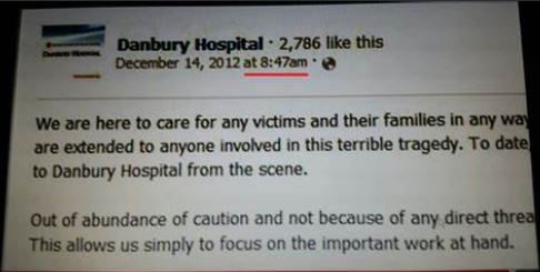 Sandy Hook: The curious case of Danbury Hospital's premature Facebook message, 48 mins. before police received 911 call Danbury-Hospital-message
