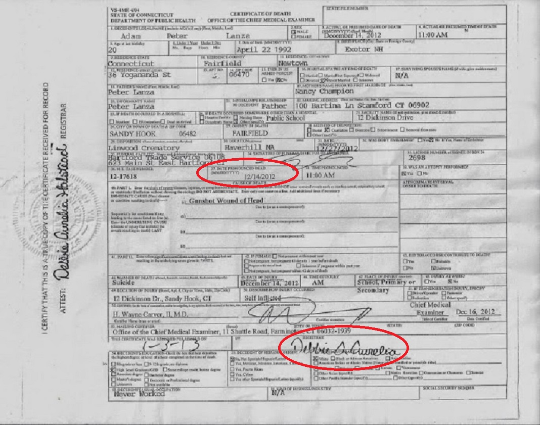 Adam Lanza's death certificate | Fellowship Of The Minds
